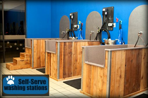 Close up of grooming stations installed